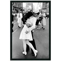 Alfred Eisenstaedt Kissing On Vj Day Times In Square Framed Wall Art Multi