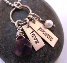 Peace Love...sterling silver hand stamped by underhercharm on Etsy, $48.00