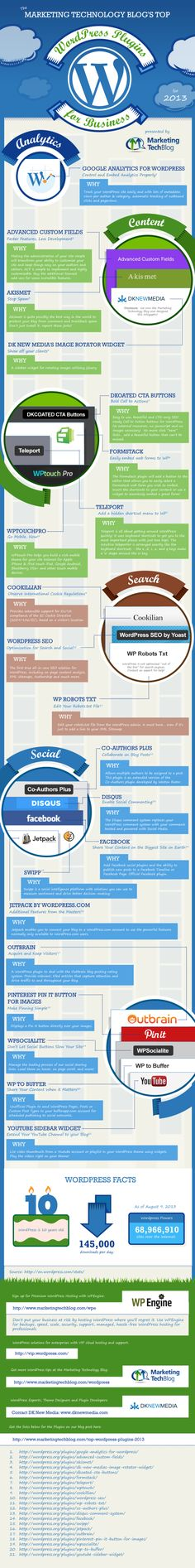 Los 21 mejores plugins para Wordpress 2013 #infografia #infographic #socialmedia