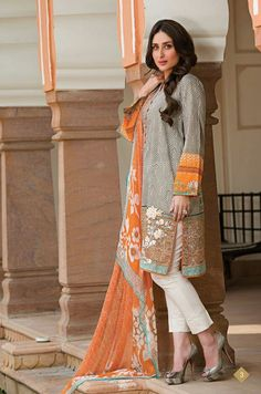 Kareena Kapoor Lawn dresses 2014 by Crescent by Faraz Manan Eid Dresses, Indian Dresses, Casual Dresses, Dresses 2014, Pakistani Outfits, Indian Outfits, Pakistani Clothing, Indian Attire, Indian Wear