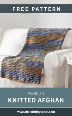 Paneled Knitted Afghan [FREE Knitting Pattern]