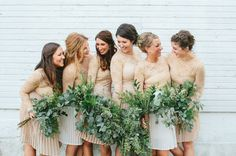 Bridesmaids in chiffon skirts + lace tops