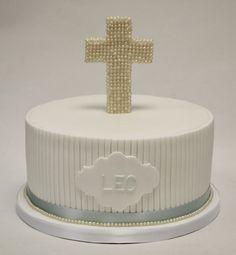 Beaded Cross Christening Cake