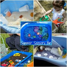 "Outdoor Sensory Bins - especially love the rice and spice idea...the kids would love ""cooking"" with that, and I'm sure they'd find all kinds of outdoor ingredients to add (e.g., grass, flower petals, leaves, etc.)"