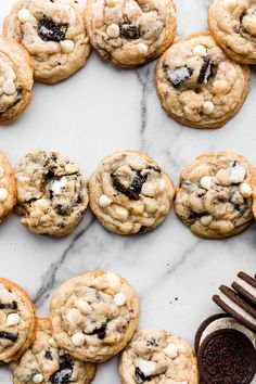 Cookies And Cream Cookies Cream Cheese Sugar Cookies, White Chocolate Chip Cookies, Cookies And Cream, Baking Recipes, Cookie Recipes, Dessert Recipes, Scone Recipes, Homemade Desserts, Beef Recipes