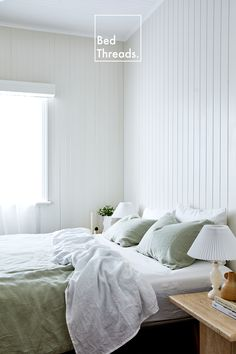 Create a calming sanctuary by adding linen bedding in tranquil hues like Sage and White to your space. Linen Bed Sheets, Bed Linen Sets, Linen Bedding, Bedding Sets, White Sheets, Room Ideas Bedroom, Home Decor Bedroom, Bedroom Stuff, Bedroom Furniture