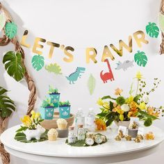 Kate Aspen's Dino Party Banner is comprised of two complementing pre-strung banners for perfect dinosaur decorations to complete your kid's birthday party look! Dinasour Birthday, Dinosaur First Birthday, Boys First Birthday Party Ideas, Birthday Themes For Boys, Baby Boy First Birthday, Boy Birthday Parties, Birthday Party Decorations, Dinosaur Decorations, Third Birthday