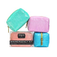 Snake Charmer Minimergency Kit from Pinch Provisions. Tropical colored collection - each pouch is packed with 17 mini essentials that are TSA-approved so you can pack in your carry on and have every vacation Shemergency covered.