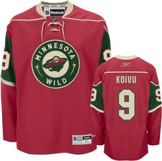 Minnesota Wild Mikko Koivu 9 Red Authentic Jersey Sale
