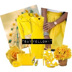 """""""Say Yellow!"""" by miqua on Polyvore featuring Mode, Ariella, P.A.R.O.S.H., Penny Loves Kenny, Tory Burch, Solange Azagury-Partridge and BaubleBar Partridge, Spring 2015, Spring Fashion, Tory Burch, Girly, Leather Jacket, Sayings, Yellow, Polyvore"""