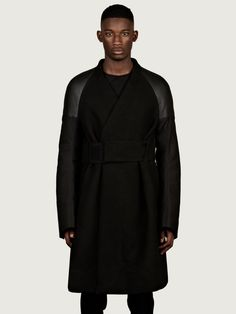 RICK OWENS MEN'S RAGLAN SHEARLING SLEEVE COAT