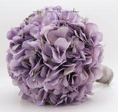 Wedding Bouquet Lavender Silk Hydrangea & Groom's Boutonniere