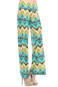 09796157c9f Women s Zigzag Chevron Tribal Print High Waist Wide Leg Long Palazzo Pants    More details