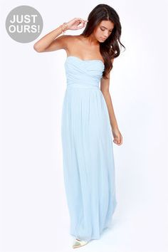 LULUS Exclusive Slow Dance Strapless Light Blue Maxi Dress #lulus and #holidaywear #winterwonderland