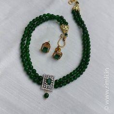 A simple choker set made with green agates & zircon stones... . . . #necklace #earring #semiprecious #sustainablefashion #indianjewellery #indianwedding #agatestone #semiprecious #choker #handcrafted #greennecklace #zircon #chennai #rimliboutique
