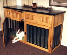amazing dog crate replacement.  maybe just one crate (the girls can share) with the sound system above it or doing both crates and using it as a sofa table behind the couch. Matou, Dog Crate Table, Dog Crate Furniture, Wood Dog Crate, Outdoor Furniture, Outdoor Decor, Tv Stand Dog Kennel, Indoor Dog Area, Custom Dog Kennel