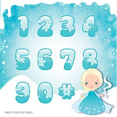 Frozen Numbers Clipart - Elsa Character and Background - Instant Download.