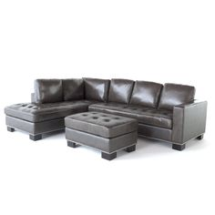 Coaster Darie Leather Sectional Sofa with LeftSide Chaise in Black