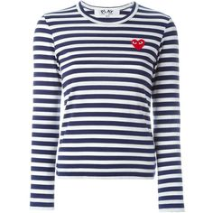 Comme Des Garçons Play Striped Long Sleeve T-Shirt (3.196.750 VND) ❤ liked on Polyvore featuring tops, t-shirts, white, long sleeve cotton t shirts, white long sleeve t shirt, long sleeve t shirt, striped tee and stripe tee