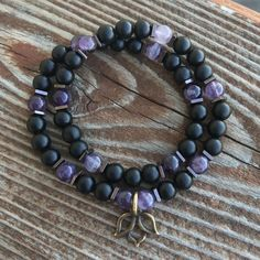 Amethyst, Hematite and Onyx Double Wrap Bracelet with Lotus Charm