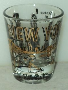 New York Shot Glass Gold Black Famous Buildings Skyline Statue Liberty Shooter  - This Item is for sale at LB General Store http://stores.ebay.com/LB-General-Store