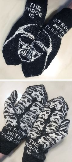 Free Knitting Pattern for Dark Side Mittens - These Star Wars inspired mittens feature Darth Vader on top and storm troopers on the palm with the words The Force Is Strong With This One split across the cuffs in stranded colorwork. Fingering weight yarn. Designed by JennyPenny. Pictured project by systeme Available English and Swedish.