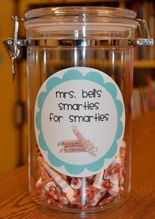 Smarties for smarties  this is such a cute idea for students if they get a good grade or something  instead of a sticker