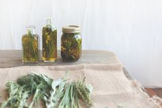 Herbs infusing in olive oil