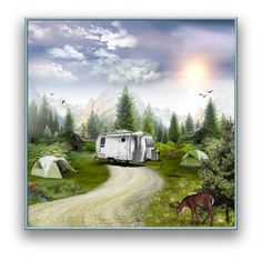 """Camping Vacation In The Mountains"" by nancysdrew ❤ liked on Polyvore featuring art"