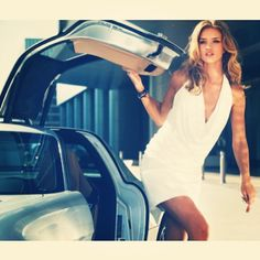 The sexiest woman in the world - Rosie Whittington Huntington with the sexiest car in the World - Mercedes SLS Gullwing