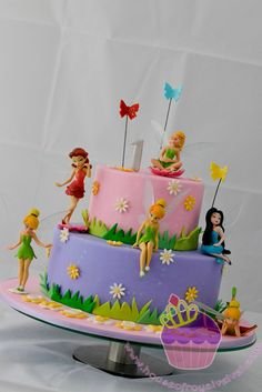 Tinkerbell Birthday Cakes | the cake is just a dummy cake because the mother wants to keep it