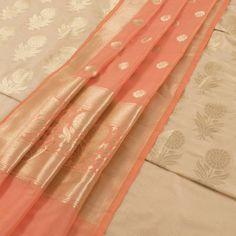 Buy online Handwoven Beige Banarasi Katrua Silk 3 Piece Salwar Suit Material With Floral Motifs 10015350