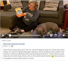 Wisconsin Humane Society promotes kindness, pet appreciation, and fostering all in one short amazing storytime with their youth manager Youth Programs, Marketing Communications, Humane Society, Kids House, Story Time, All In One, Wisconsin, The Fosters, Books To Read