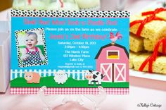 Barnyard Birthday Photo Invitation.... by KellysCottageShoppe, $11.00