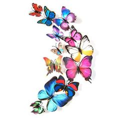 Ussore Wall Sticker 12pcs Decal Decorations 3D Butterfly Colorful For Kids Home Living Room House Bedroom Bathroom Kitchen Office Home Decoration  I love use of metal art in the garden as it adds dimension or another level of texture.  Especially true with metal butterfly wall art because this type of art is beautiful, unique and enchanting.  I like to use these on brick or block walls.    These pieces of butterfly metal wall art are vibrant, charming and adorable.  Obviously a great idea…