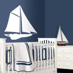 Sailboat Nautical Nursery Art - Nursery Wall Decals - Sea Beach Nursery - sailboat nursery theme. $32.50, via Etsy.