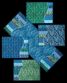 Making Waves Tablerunner & Placemats – Quilting Books Patterns and Notions Quilted Placemat Patterns, Fabric Placemats, Mug Rug Patterns, Quilt Block Patterns, Placemat Ideas, Quilted Coasters, Modern Patterns, Hexagon Quilt, Canvas Patterns