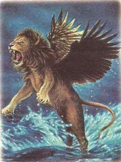 """""""The first was like a lion, and it had the wings of an eagle. I watched until its wings were torn off and it was lifted from the ground so that it stood on two feet like a human being, and the mind of a human was given to it.""""  Daniel 7:4"""