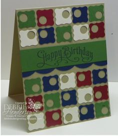 """Debbie's Designs: Tuesday Tips or Techniques... I dug out my punches and started out with the 1/2"""" Circle Punch and 5 cardstock colors: Whisper White, Cherry Cobbler, Garden Green, Night of Navy and Crumb Cake for the card base. I punched some holes first with the 1/2"""" Circle Punch and then used my Petite Curly Label Punch."""