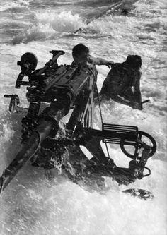 "ingwerapfel: "" crew members attempt to repair their AA gun, struggling in the rough sea "" German Submarines, Merchant Navy, Ww2 Photos, Armada, War Machine, Battleship, Military History, Armed Forces, World War Two"