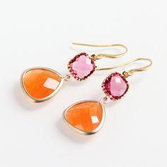 Pink & Orange Earrings - Faceted Briolettes, Gold Earrings | $40 | by Ruby Sky Design