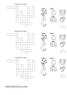 Seasons Crosswords Google English Crosswords Pinterest Worksheets Printable