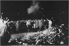 NSDAP members burning books, Germany, 1933