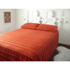Wallter strip bedspread in orange. Perfect for a platform bed. From Public Modern Home Furniture, Mid Century Modern Furniture, Orange Bedding, Blue Walls, Home Textile, Bed Spreads, Bed Frame, Mid-century Modern