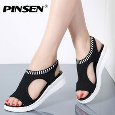 Cheap Middle Heels, Buy Directly from China Suppliers:PINSEN Women Sandals 2018 New Female Shoes Woman Summer Wedge Comfortable Sandals Ladies Slip-on Flat Sandals Women Sandalias Sandals 2018, Flat Sandals, Wedge Shoes, Shoes Sandals, Women Sandals, Shoes Women, Back Strap Heels, Sneakers Fashion, Fashion Shoes