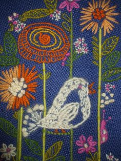~ Crewel Embroidery ~ Birds & Flowers info said 1970's
