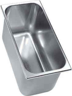 Eisbehälter, Ronda, VG3612H aus Edelstahl, in einem Stück tiefgezogen, Fassungsvermögen: 5,2 Lt. Abm.: 36 x 16,5 x 12 cm (BxTxH) Sheet Pan, Deep Drawing, Sheet Metal, Stainless Steel, Springform Pan