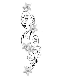 Blumenranken+Tattoo+Vorlage+origineller+Look