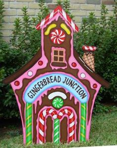 Christmas gingerbread train station wood outdoor village for Gingerbread house outdoor decorations