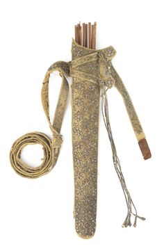 A silver-thread embroidered glass-bead-mounted velvet-clad leather quiver, North India, early 19th Century - Alain.R.Truong What Is Poverty, Leather Quiver, Gk In Hindi, Credit Card Application, History Of India, Skin Cleanse, North India, Bow, Best Credit Cards